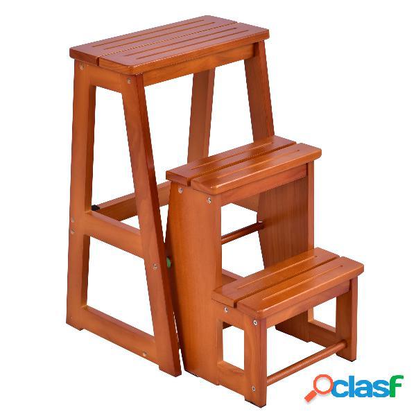 Tabouret de chaise pliante échelle de 3 niveaux tabouret escalier en bois multifonctionnel