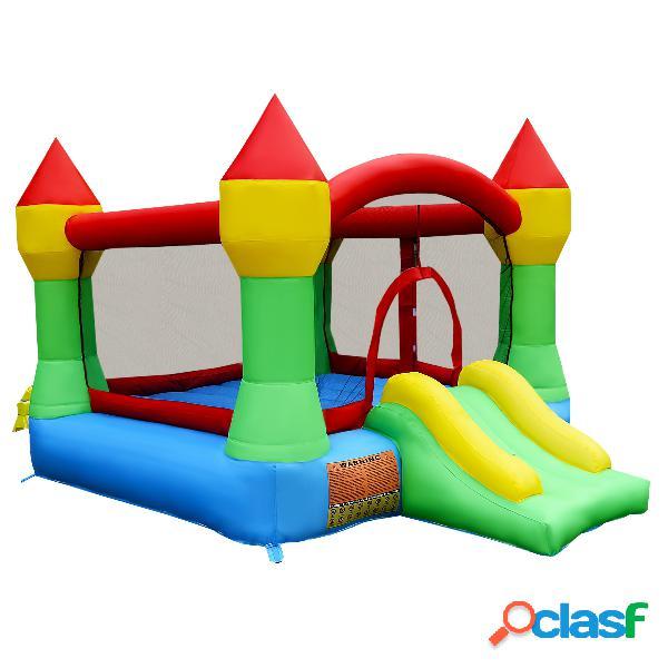 Costway château gonflable avec toboggan pour enfant en tissu oxford equipée de filet protecteur 370 x 280 x 230 cm
