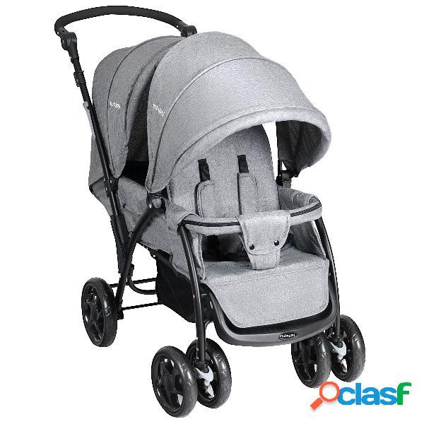 Costway poussette double bébé poussette pliable 123 x 59 x 102cm couleur gris
