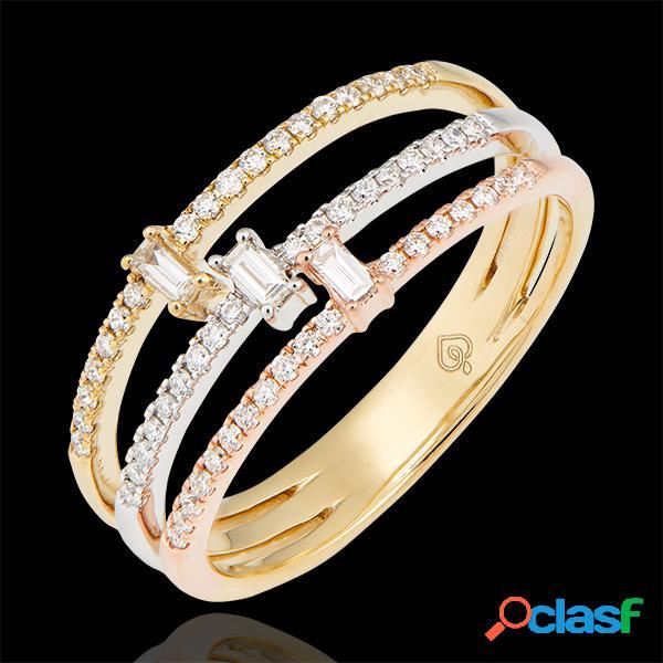 Bague trilogia - 3 ors 9 carats et diamants