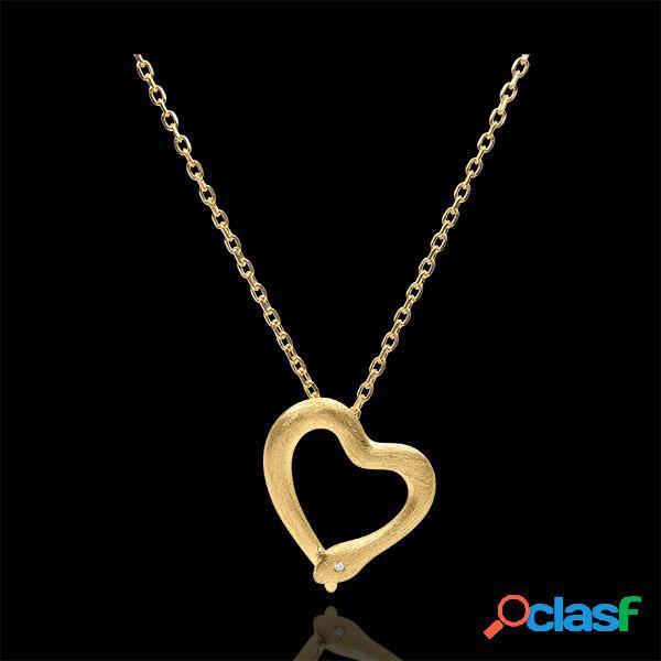Collier balade imaginaire - serpent d'amour - variation petit modã¨le - or jaune 18 carats brossã© diamant