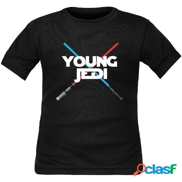 Tee shirt enfant geek: young jedi - noir 4 ans longues