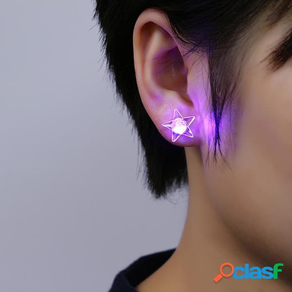 1 paire de led boucles d'oreilles lumineuses en forme de pentacle pour femme