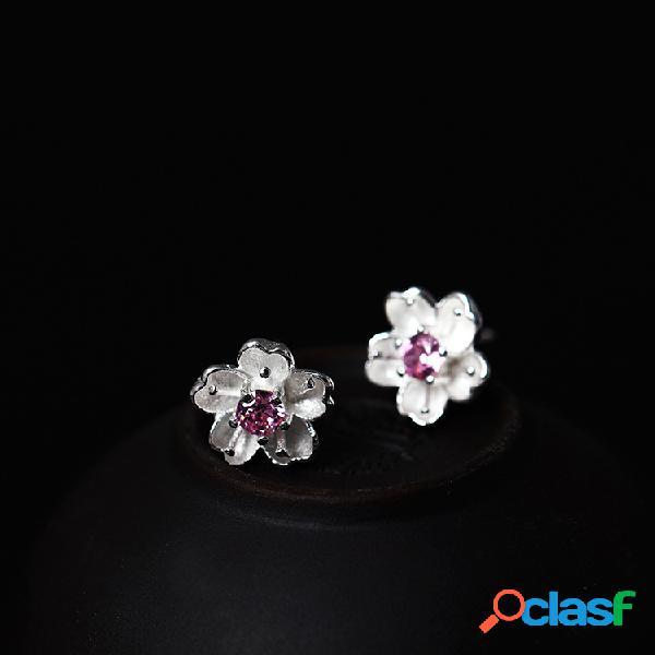 Boucles d'oreilles en argent sterling 925 fleur de pêche fleur boucles d'oreilles violet zircone piercing