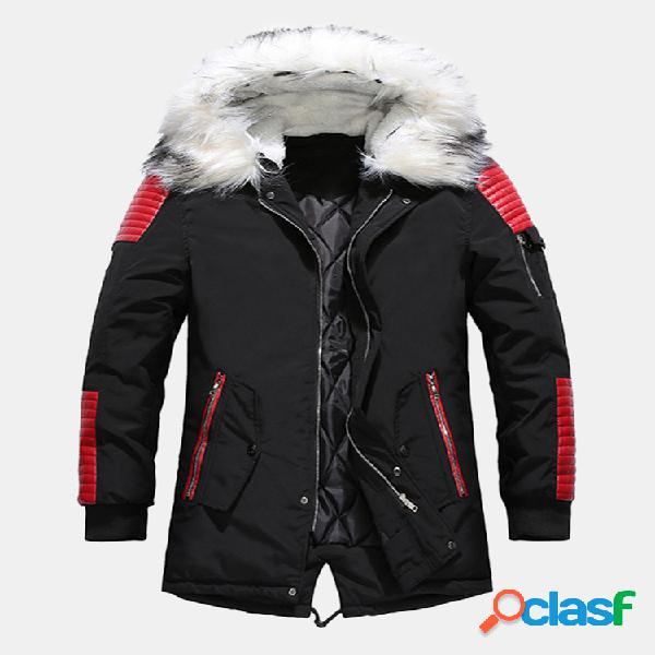Manteaux d'hiver à capuche en fourrure pour hommes épaississent les manteaux chauds en duvet