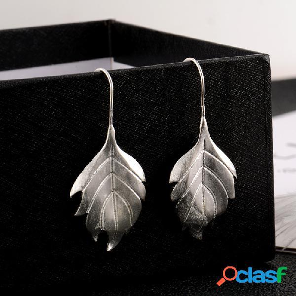 Boucles d'oreilles en argent 925 en forme de feuille grande cadeau pour femme