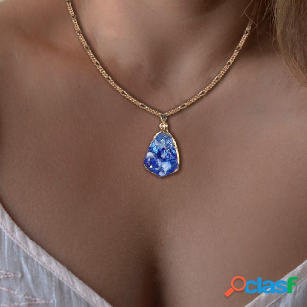 Vintage colorful collier avec pendentif en pierre naturelle géométrique collier en chaîne goutte d'eau irrégulière