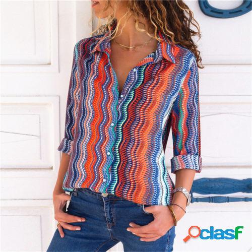 Slim handsome print shirt vêtements pour femmes