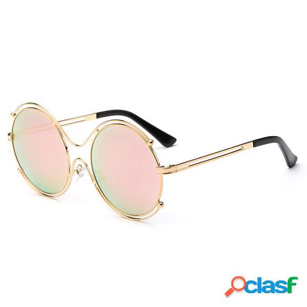 Lunette de soleil fashion double anneau anti-uv verre hd vintage loisir pour femme