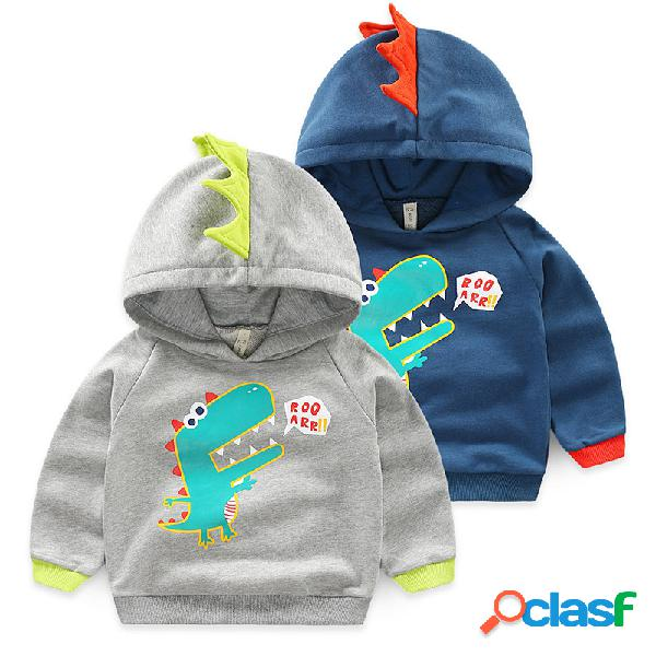 Hauts de sweats à capuche de garçons d'impression de dinosaure pour 2y-9y