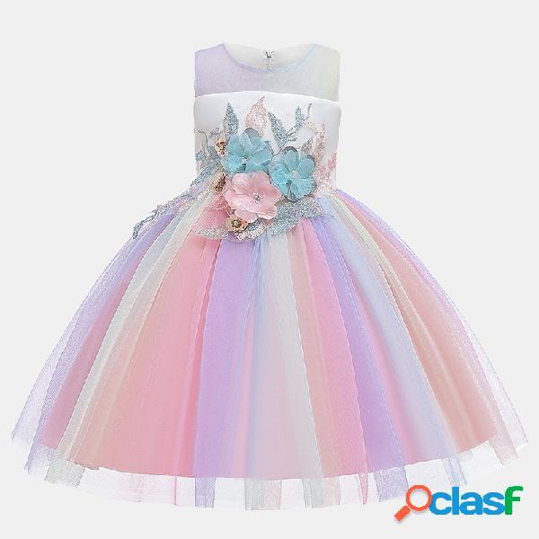 Fille de broderie fleur arc-en-ciel tulle princesse anniversaire robe de mariée formelle pour 3-13y