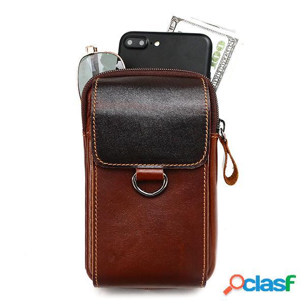 Sac ceinture cuir véritable bourse de loisir vintage multi-fonctionnel sac bandoulière pour homme
