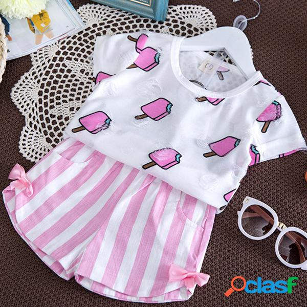 2pcs toddler girls clothes set t-shirt imprimé + pantalon court à rayures
