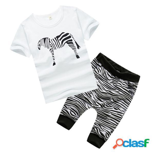 2pcs zebra bébé filles garçons vêtements ensemble tops manches courtes + pantalon enfants vêtements ensemble