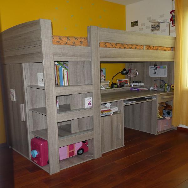 Lit mezzanine - bureau 90x200 montana + matelas (offert)