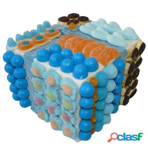 Centre de table bonbons carrã© tutti-frutti bleu