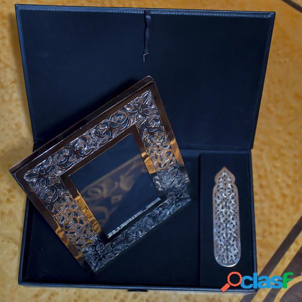 Accessoires de bureau en cuivre nickelé - long: 34 cm - larg: 21 cm - haut: 4 cm