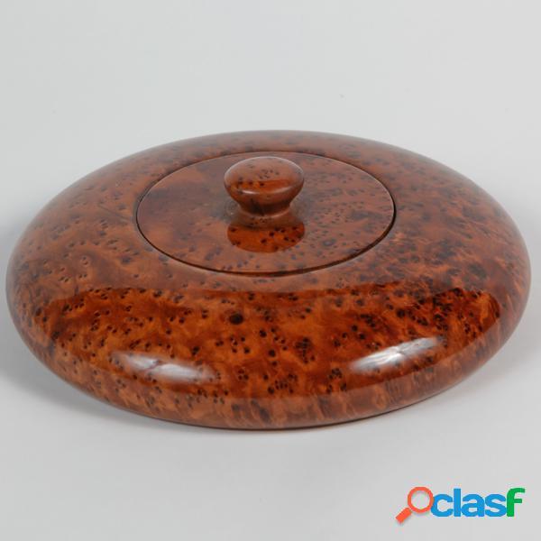 Boîte à bijoux en bois - haut: 3 cm - diam: 19 cm