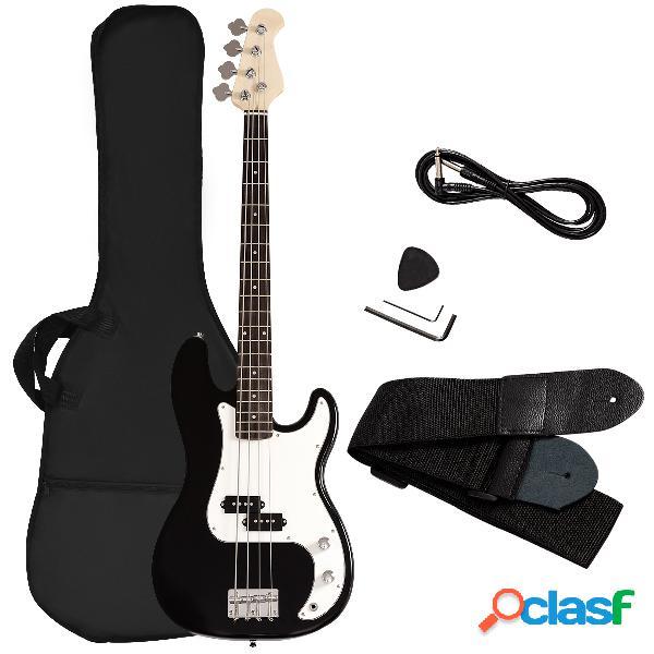 Costway basse électrique en bois noir guitare basse avec accessoires sac sangle accordeur câble