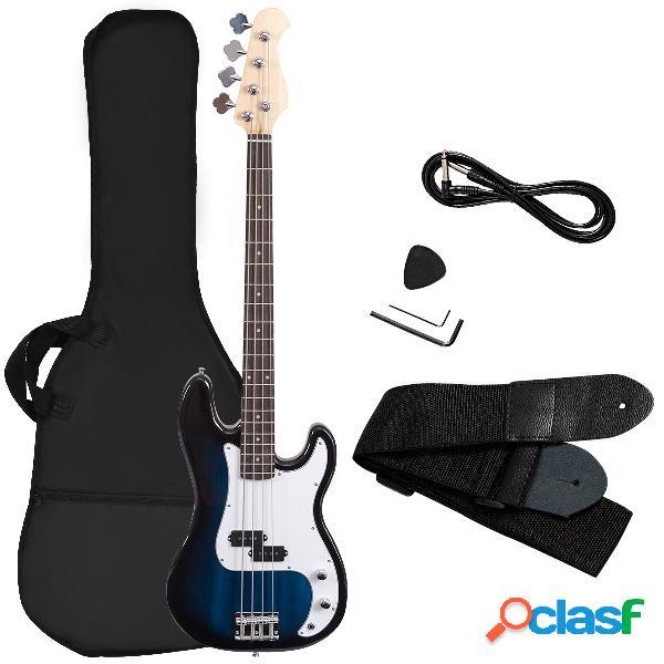 Costway basse électrique en bois bleu guitare basse avec accessoires sac sangle accordeur câble