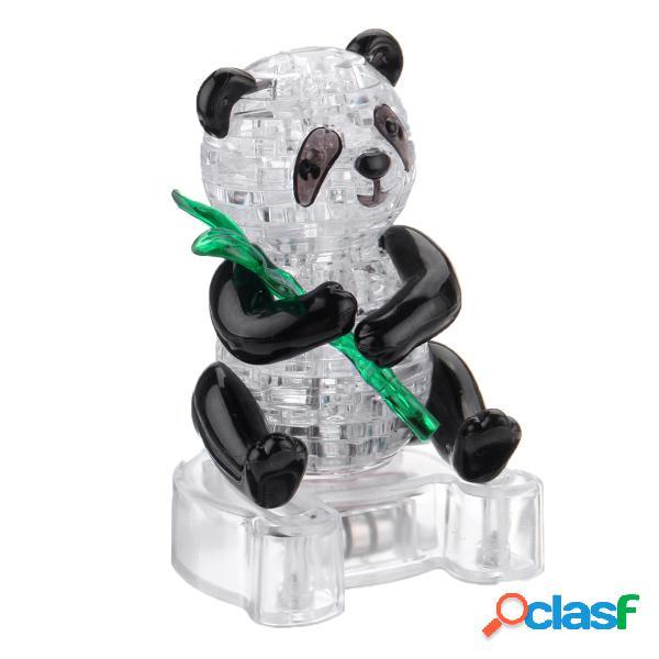 Puzzle en cristal 3d panda light jigsaw brainteaser construire votre propre modèle animal