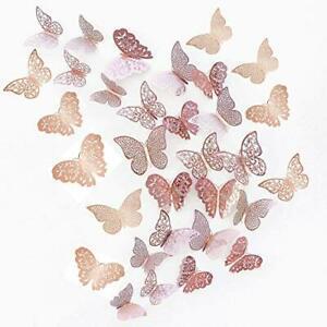Juni-h 36 pièces 3d papillons décoratifs papillon