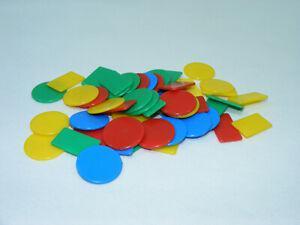 Lot de 47 jetons plastiques 4 couleur jeu cartes belote