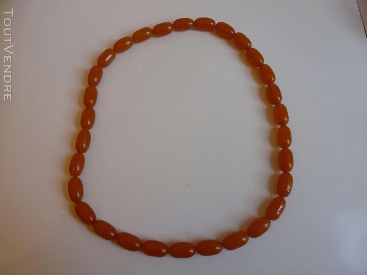 ancien collier bakelite couleur ambre miel bijou vintage 197