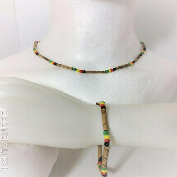 Parure collier/bracelet perles et bois (33-3)