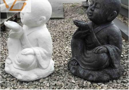 statue de bouddha assis en pierre - h: 40 cm