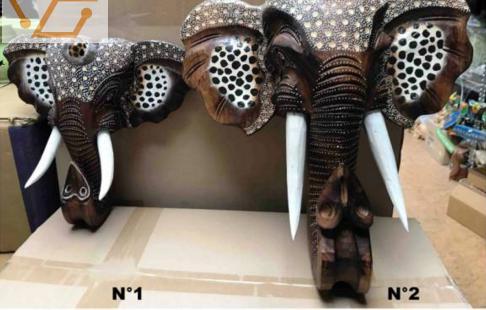 tête d'éléphant en bois - h: 29 ou 3...