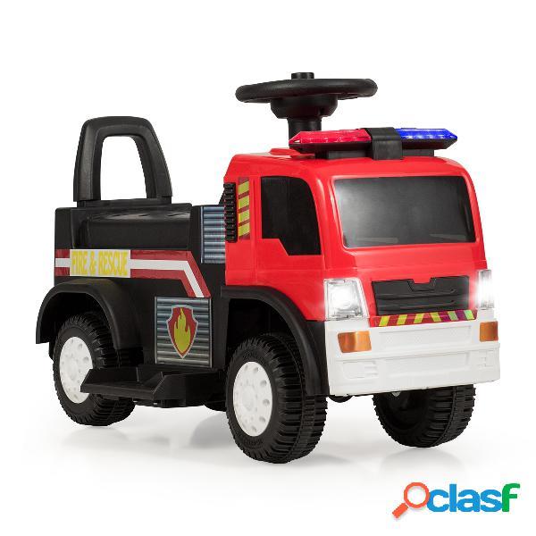 Costway camion de pompiers electrique alimenté par une batterie de 6v pour garçon et fille de 3 à 6 ans