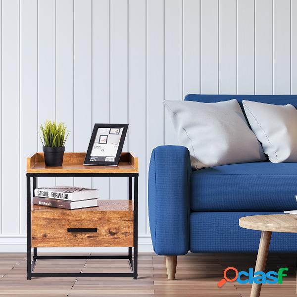 Costway table de chevet à 2 etagères bout de canapé avec 1 tiroir de rangement brun 45 x 40 x 49cm