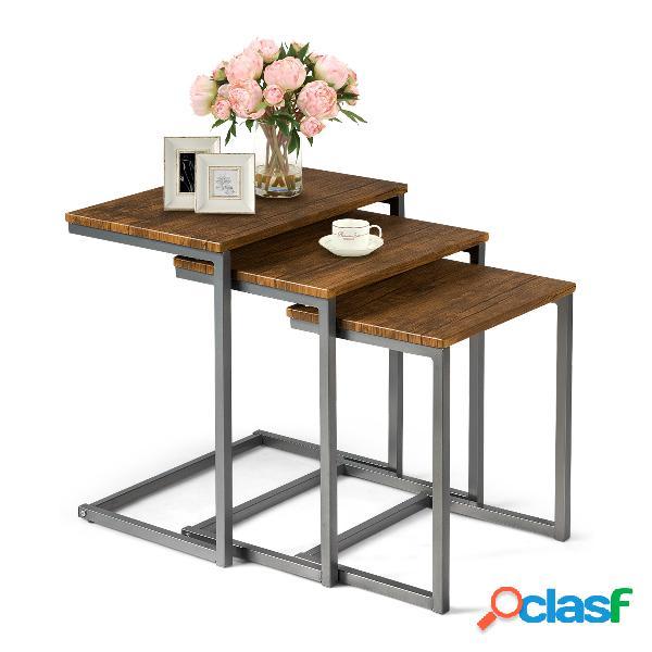 Costway lot de 3 tables basses gigognes en bois+métal style vintage 50 x 35 x 55 cm brun foncé