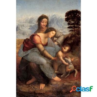 Puzzle en bois découpés à la main - léonard de vinci - vierge à l'enfant et sainte anne