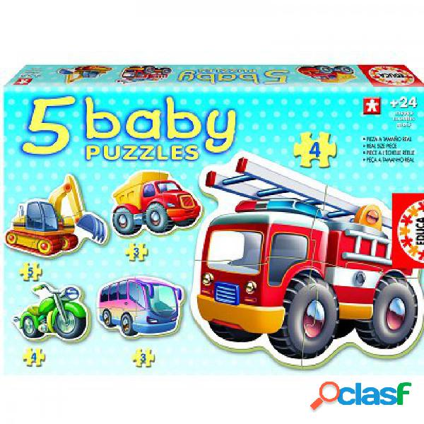 5 puzzles baby - les véhicules educa