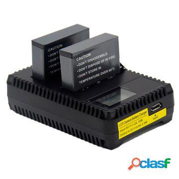 Chargeur double batterie lcd pour gopro hero 4 - noir