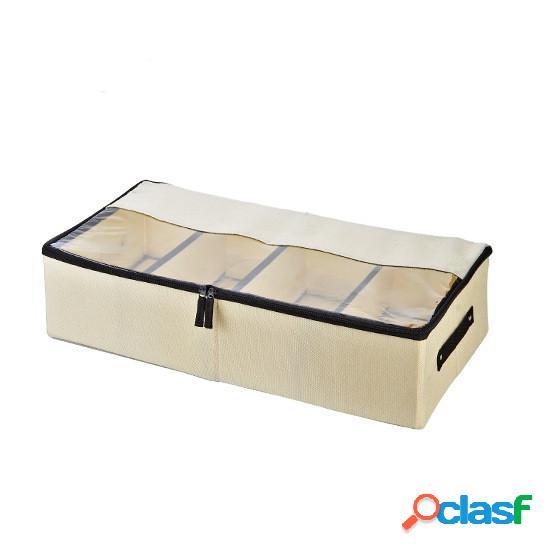 120l lavable multifunctiona transparent boîte à chaussures sous-vêtements coton lin boîte de rangement