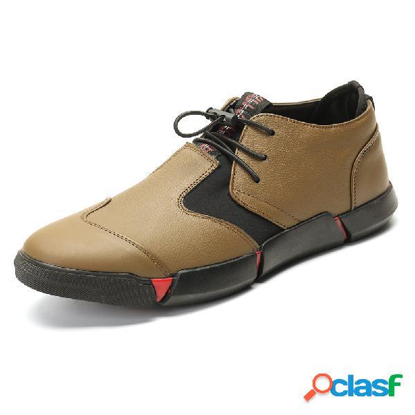 Cuir véritable épissage confortable chaussures soft lacets élastiques jusqu'à chaussures décontractées