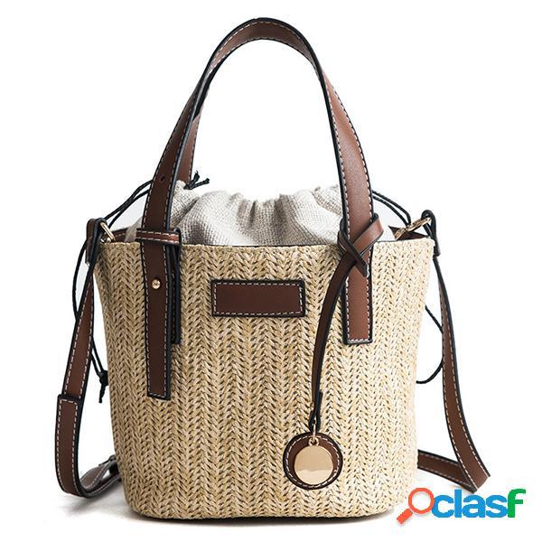 Sac de plage en paille sac seau sac à main sac à bandoulière pour les femmes