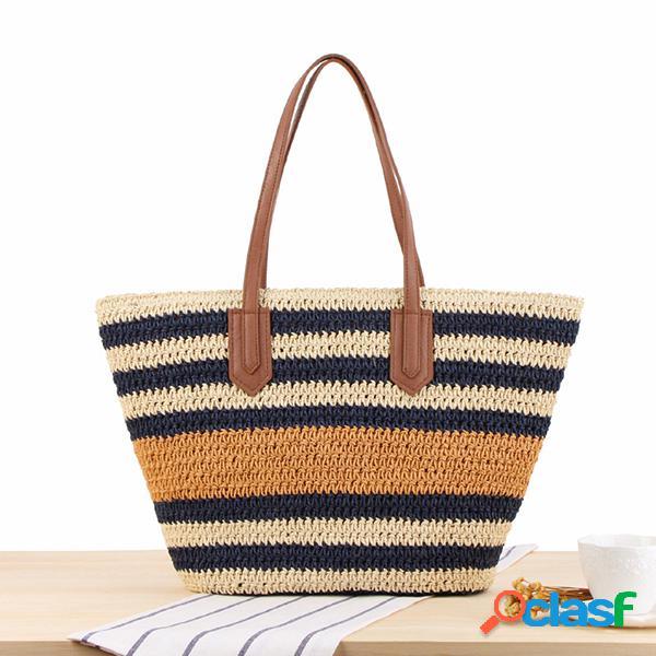 Sac à bandoulière rayé sac de plage en paille sac à main pour femme