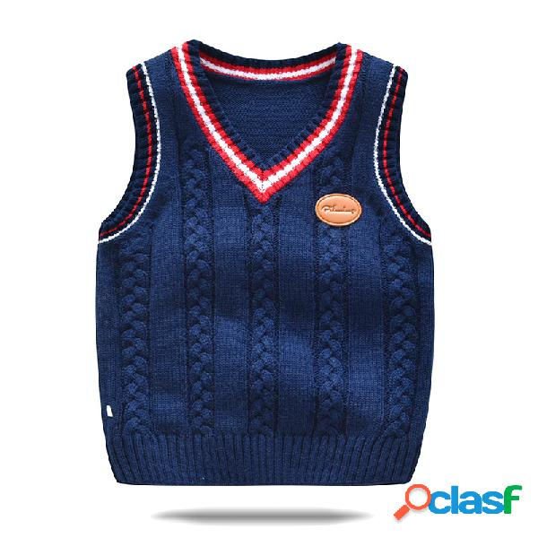 Enfant en bas âge pour les filles et les garçons tricot gilet pull décontracté sans manches pour 2-9y