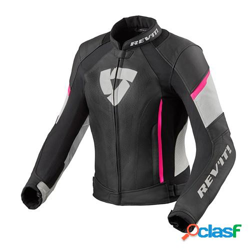Rev'it! xena 3 lady jacket, veste moto cuir femmes, noir rose
