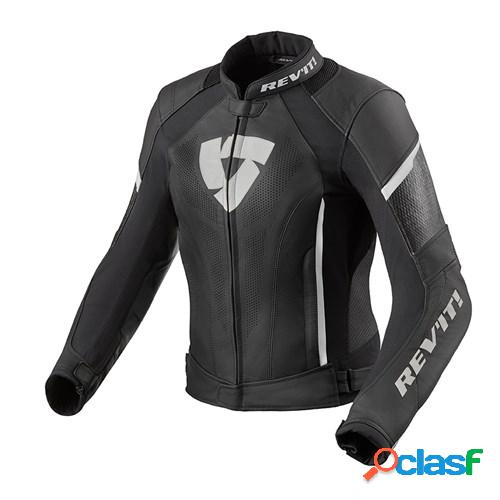 Rev'it! xena 3 lady jacket, veste moto cuir femmes, noir blanc