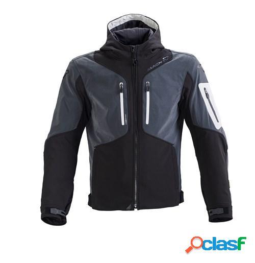 Macna aytee, veste moto textile hommes, noir gris