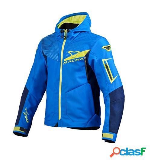 Macna imbuz, veste moto textile hommes, bleu jaune fluo