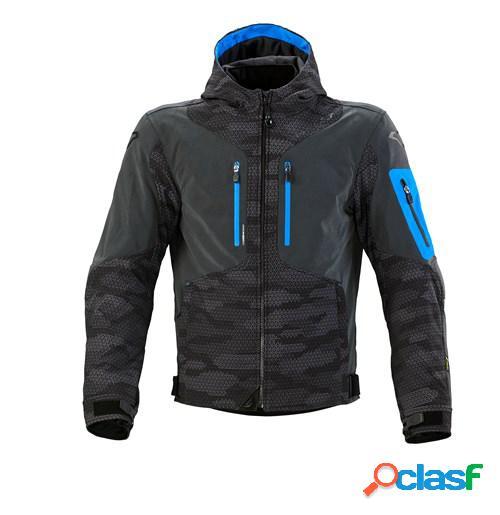Macna aytee, veste moto textile hommes, noir gris bleu