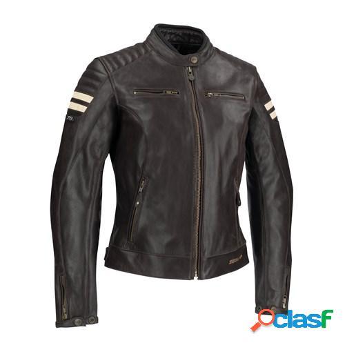 SEGURA Lady Stripe, Veste moto cuir femmes, Marron-Beige