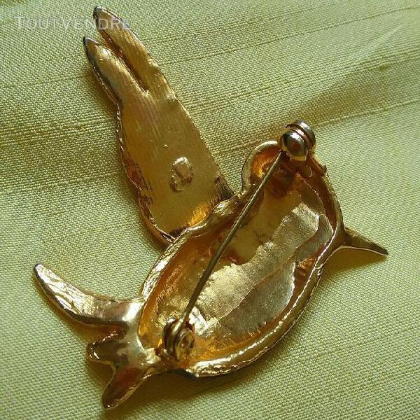 Jolie broche vintage colibri, métal doré et émaux parfait