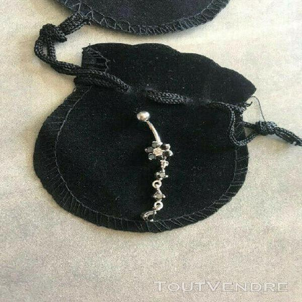 Piercing nombril strass noir + 1 piercing boule acrylique of
